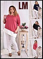От 42 по 74 р Красивая блузка-туника 770563 батал большого размера деловая осенняя весенняя женская розовая