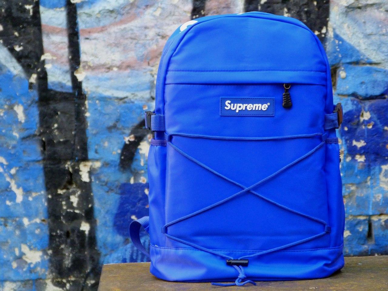 Рюкзак Supreme синий. Живое фото. Топ качество! (Реплика ААА+)