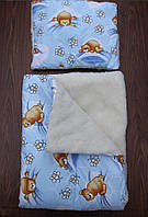 """Детское одеяло+подушка """"Мишки с пчелами""""(на овчине), фото 1"""