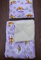 """Детское стеганное одеяло+подушка """"Мишки с пчелами""""(на овчине)"""
