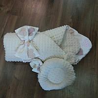Конверт-плед + ортопедическая подушка для новорожденных, фото 1