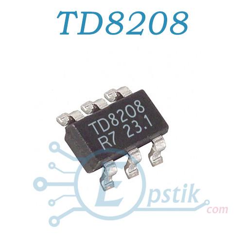 TD8208, DC-DC повышающий преобразователь, 2А, 1МГц.,  SOT23-6