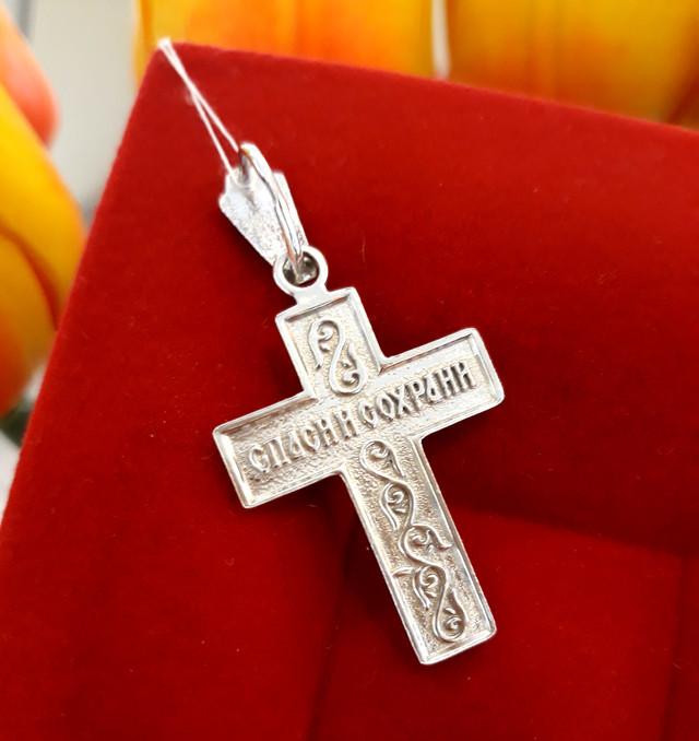Мужской серебряный крестик фото 2