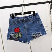 Джинсовые шорты с высокой талией Роза с сеткой синие