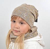 Трикотажный комплект(шапка+хомут) Глитер, фото 1