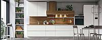 Белая кухня в хайтек стиле с функцией push-to-open