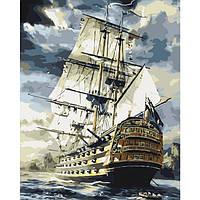 Картина по номерам Корабль линкор в море 40 х 50 см Идейка арт. КН2710