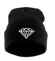 Черная женская шапка с кристаллом