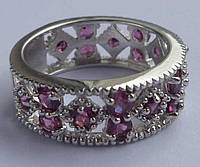 Ажурное кольцо с родолит гранатом Размер 18