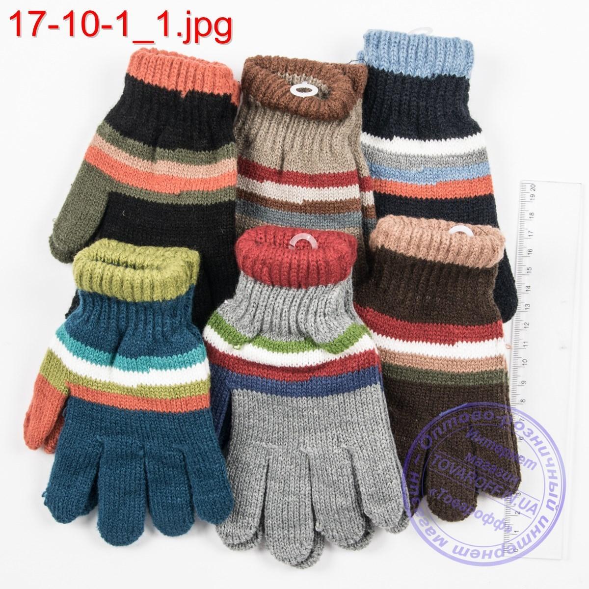 Оптом вязаные перчатки для мальчиков на 6, 7, 8, 9 лет - №17-10-1