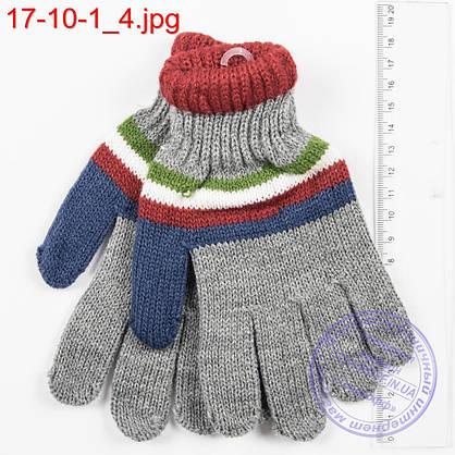 Оптом вязаные перчатки для мальчиков на 6, 7, 8, 9 лет - №17-10-1, фото 2