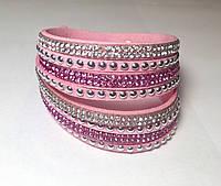 """Женский браслет """"Розовая намотка в белых и розовых камнях"""" с регулятором размера"""