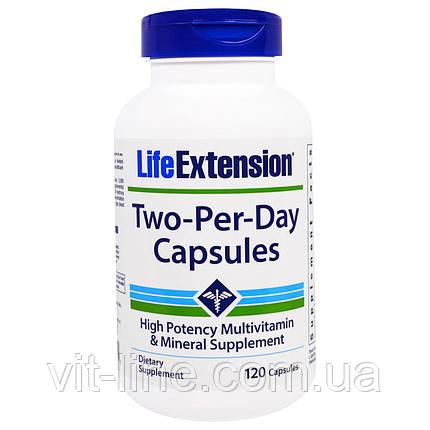 Life Extension, Дважды-в-день, мультивитаминный комплпекс. Капсулы, 120 капсул, фото 2