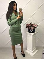 Замшевый юбочный костюм юбка и пиджак на молнии В30170