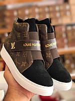 Высокие кеды Louis Vuitton черно-коричневые