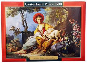 Пазлы Девушка с собачкой Castorland 1500 элементов
