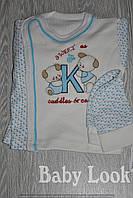 Комплект для новорожденного: шапочка, кофточка, ползунки Голубой