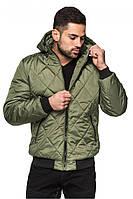 Хаки мужская демисезонная короткая курточка с капюшоном. Арт-2370/61