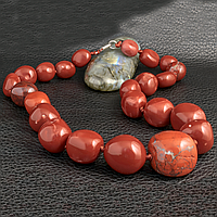 Яшма красная, бусы камушки, 269БСЯ, фото 1