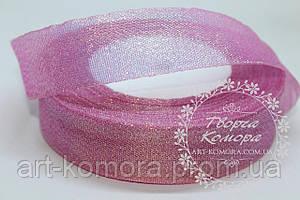 Парча с перламутром, розовая, 2,5 см