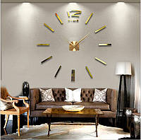 3d наклейка настенные часы 004G (Палочки Золото)