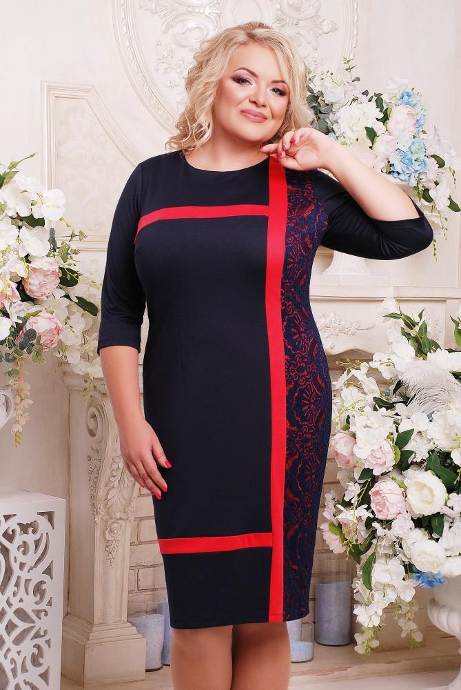 Элегантное платье с кружевом 52,54,56,58,60,62
