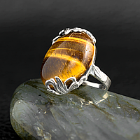 Тигровый глаз, серебро 925, кольцо, 599КТ