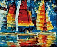 Парусники, серия Море, рисование по номерам, 40 х 50 см, Идейка