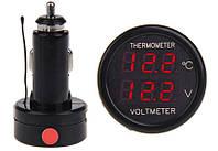 Вольтметр с термометром автомобильный в прикуриватель, фото 1