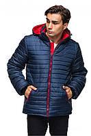 Темно-синяя мужская зимняя теплая стеганая курточка с капюшоном. Арт-2374/61