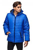 Синяя (электрик) мужская зимняя теплая стеганая курточка с капюшоном. Арт-2374/61