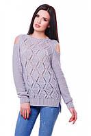 Вязаный женский светло-серый свитер LALA ТМ FashionUp 42-48 размеры