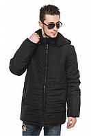 Черная мужская зимняя теплая стеганая курточка с капюшоном. Арт-2375/61