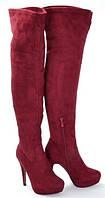 Качественные ботфорты сапоги весна, осень бордового цвета размеры 36