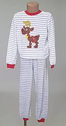Детская теплая пижама в полоску с олененком