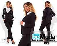 Стильный женский брючный костюм больших размеров  черный