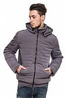Серая мужская зимняя теплая стильная короткая куртка-пуховик с капюшоном. Арт-2377/61