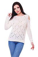 Вязаный женский белый свитер LALA ТМ FashionUp 42-48 размеры