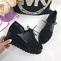 Туфли на платформе эко-замш+эко-кожа