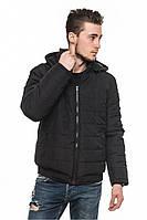 Черная мужская зимняя теплая стильная короткая куртка-пуховик с капюшоном. Арт-2377/61