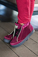 Модные тёплые ботинки из натуральной кожи и замши.