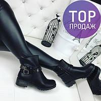 Женские низкие ботинки с ремешком, эко кожа, черные / полусапоги женские,на низком каблуке, удобные, модные