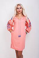 Платье-вышиванка Очарование с рукавами-фонариками светло-коралловое
