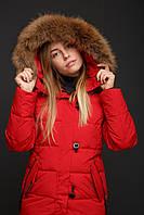 Женские пуховики с мехом на капюшоне (мех отстёгивается) Canada Goose Red