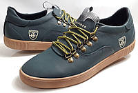 Кроссовки-кеды  кожаные  мужские  Tommy Hilfiger model M-23 зелёные, пр-во ПОЛЬША