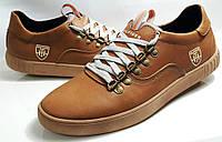 Кроссовки-кеды  кожаные  мужские  Tommy Hilfiger model M-23 рыжие, пр-во ПОЛЬША