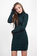 Укороченное полуприлегающее платье с длинным рукавом, бутылочного цвета