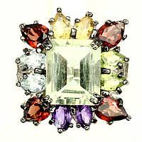 Кольцо с Зеленым АМЕТИСТОМ (ПРАЗЕОЛИТОМ), ЦИТРИНАМИ, ГРАНАТАМИ, АМЕТИСТАМИ, ПЕРИДОТОМ и ТОПАЗАМИ
