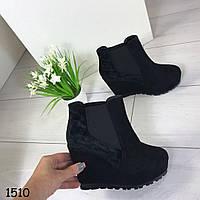 Демисезонные женские ботинки чёрные эко замш