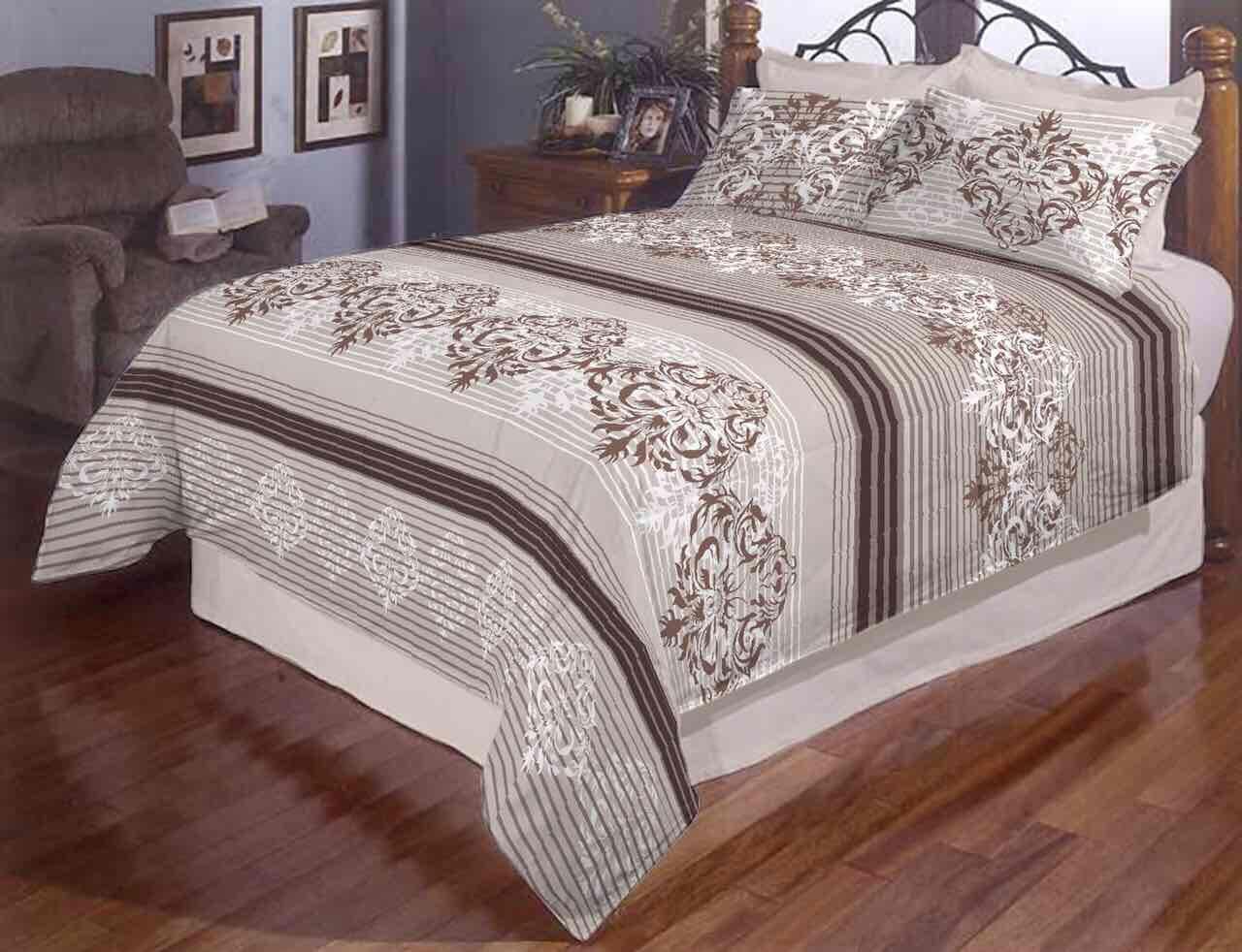Постільна білизна двоспальне Дрібна смужка + візерунок Gold